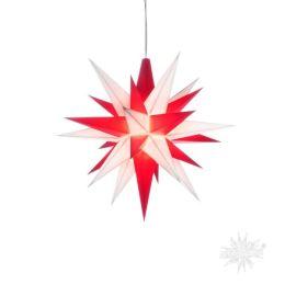 Original Herrnhuter Stern A1e aus Kunststoff für die Innenverwendung, weiß und rot